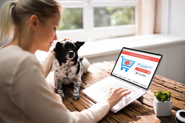 Woman Shopping for Online Dog Treats